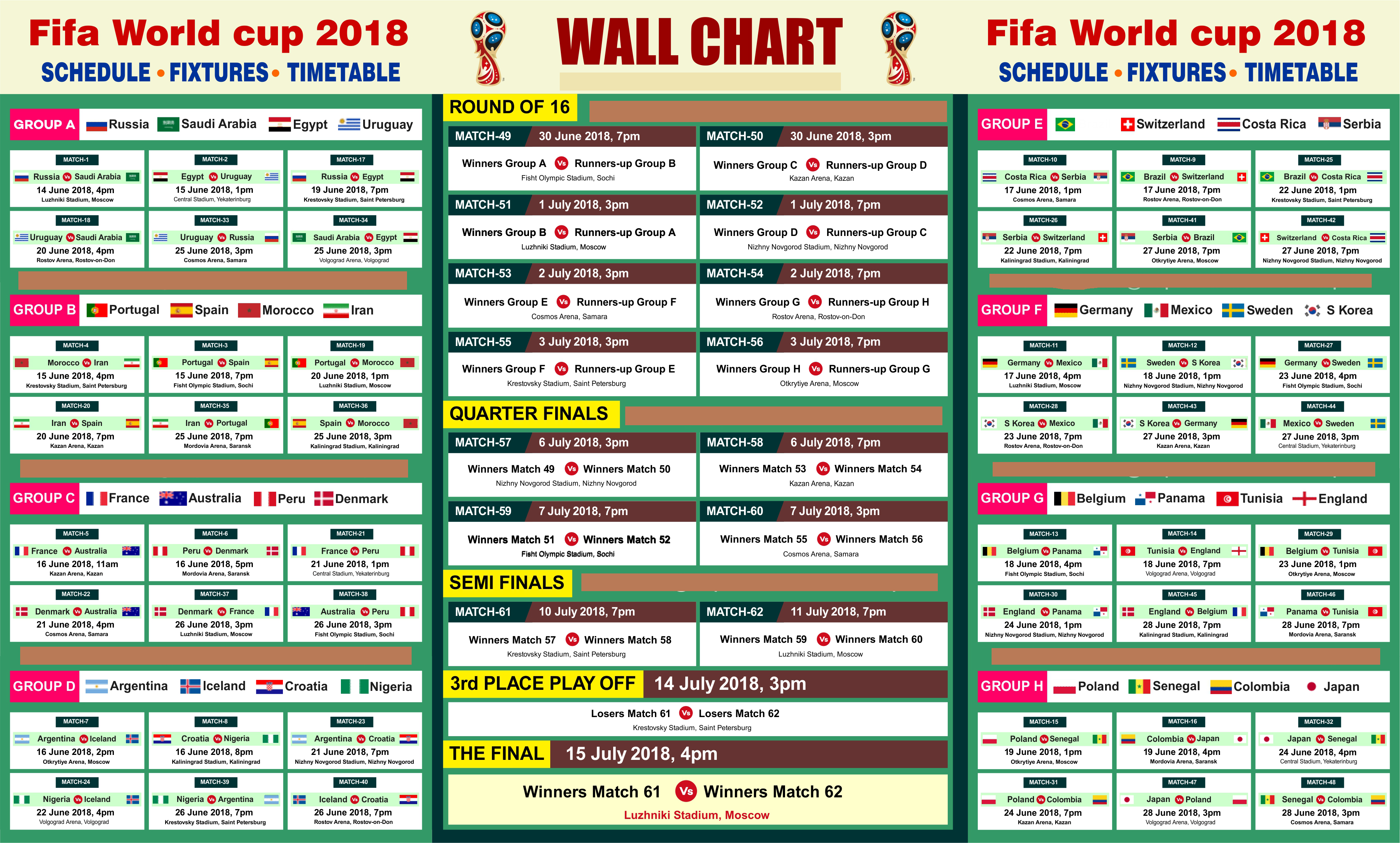 photograph about World Cup Printable Schedule referred to as FIFA Environment cup 2018 PDF Printable FIFA Planet Cup 2018