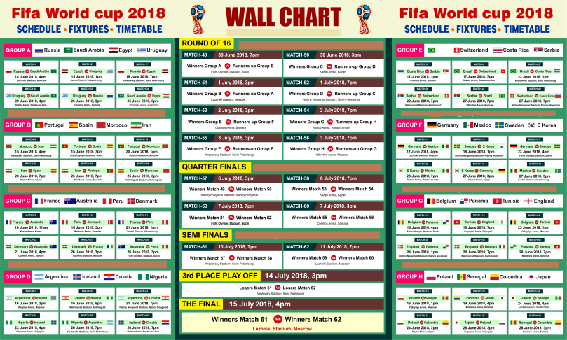 FIFA World cup 2018 PDF Printable – FIFA World Cup 2018