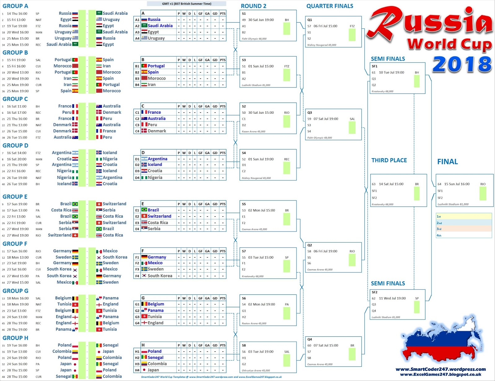 picture regarding Printable World Cup Bracket identified as FIFA Worldwide Cup 2018 program excel spreadsheets No cost